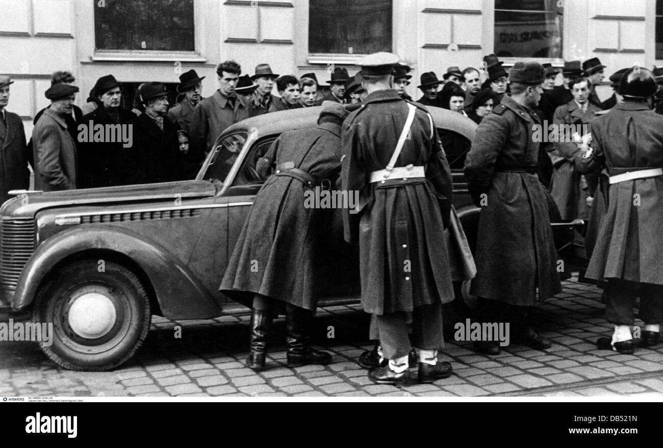 geography / travel, Austria, post war period, Vienna, occupation by the allies, patrol of the Inter-Allied military - Stock Image