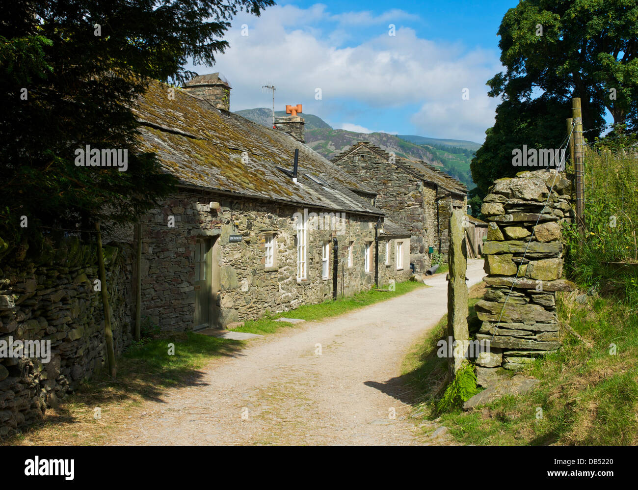 Track through Side Farm, near Patterdale, Lake District National Park, Cumbria, England UK - Stock Image