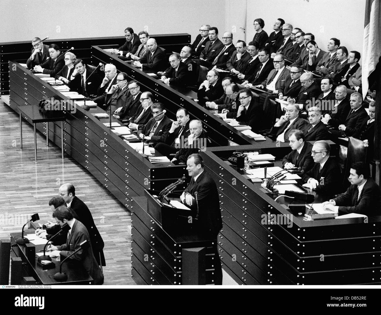 geography / travel, Germany, politics, Federal Diet, assembly, speech of the Federal Chancellor Willy Brandt, report - Stock Image