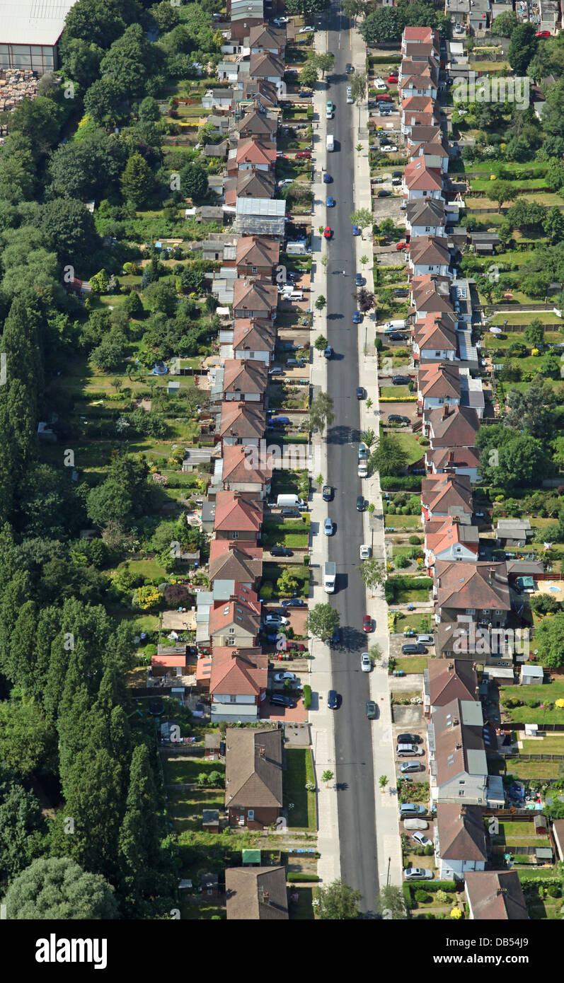 aerial view of Brent Terrace in London, a typical suburban street - Stock Image