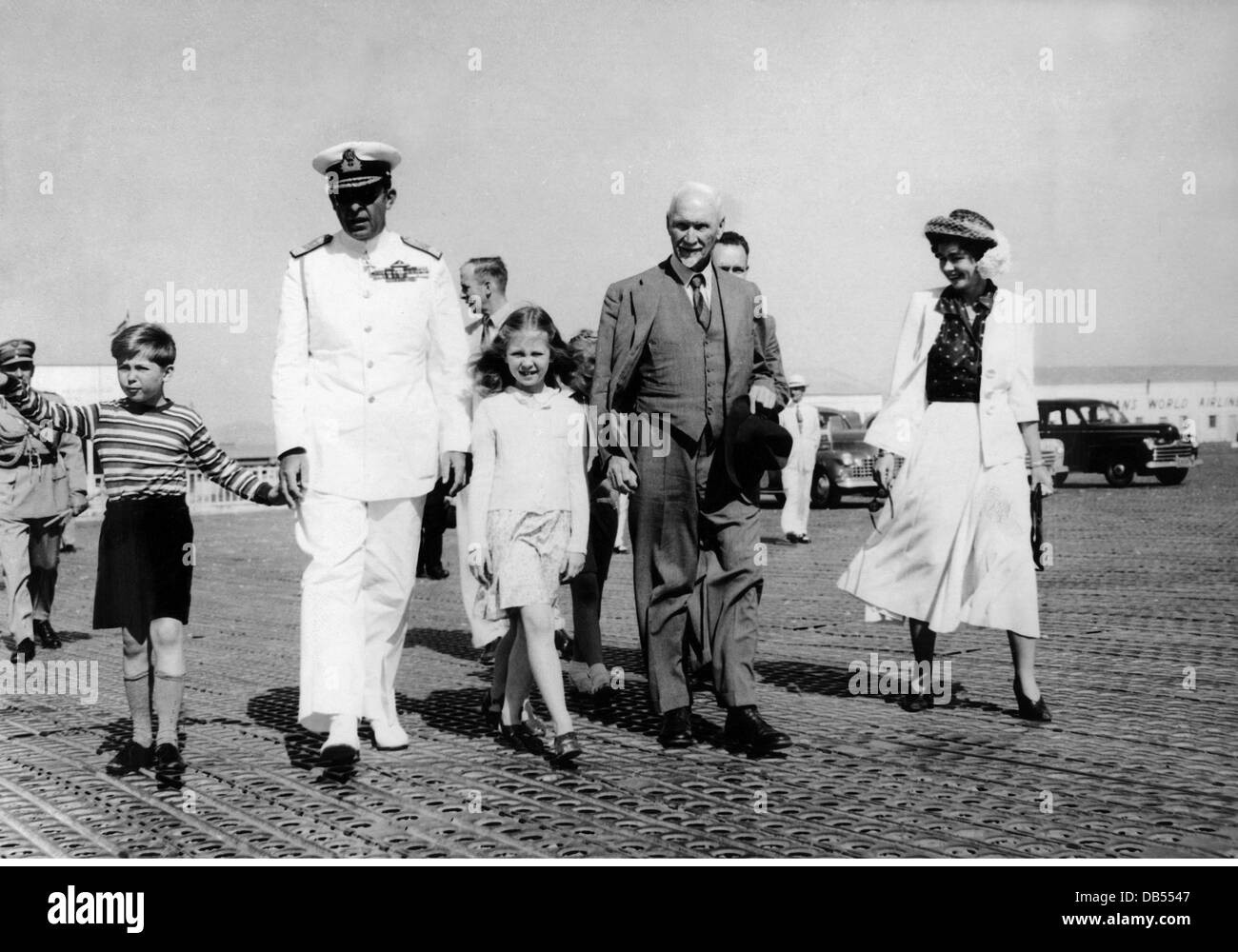 Smuts, Jan Christian, 24.5.1870 - 11.9.1950, South African politician, visit to Greece, with King Paul I, Queen - Stock Image