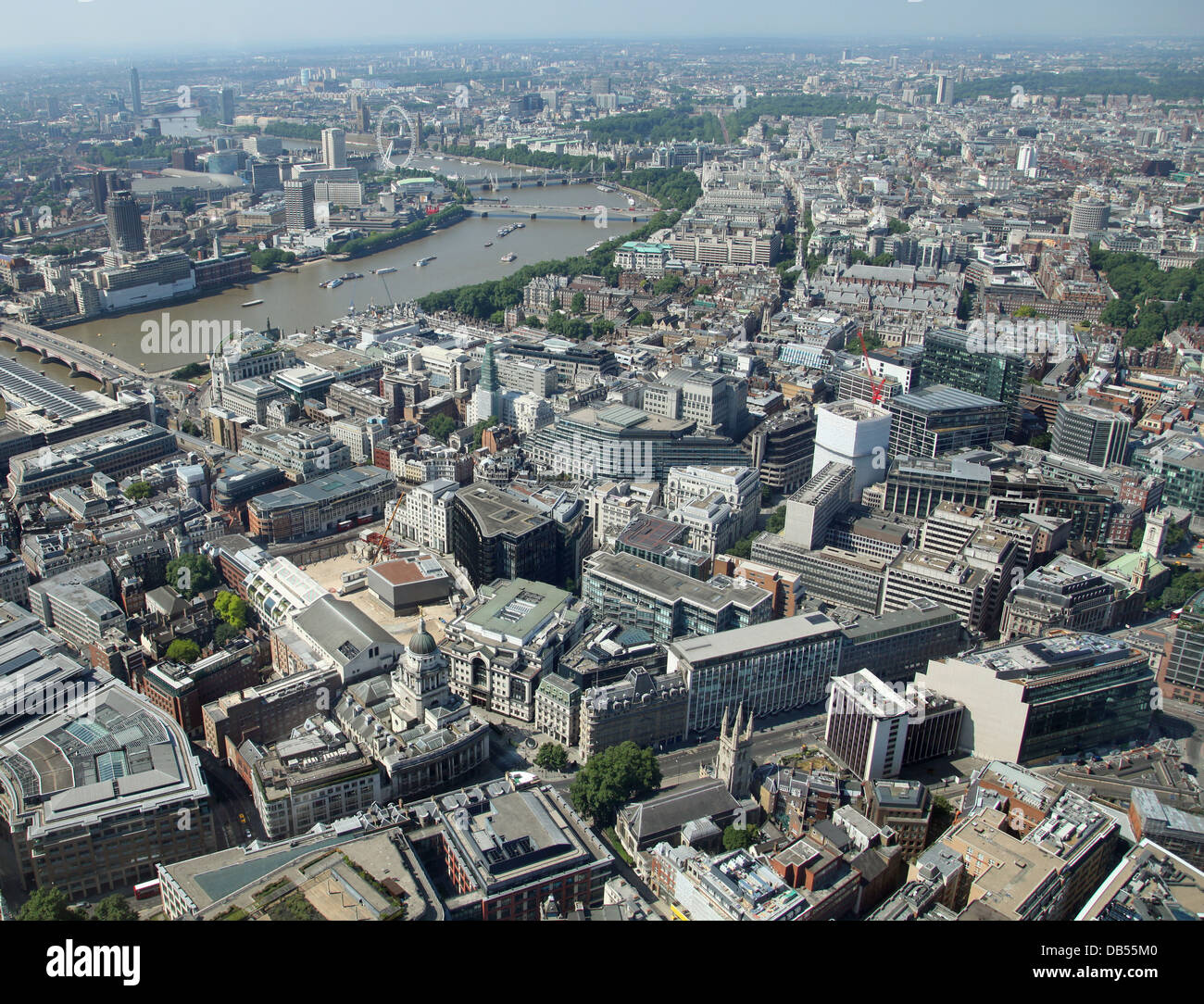 aerial view of London with the Old Bailey left foreground and The Thames running away to the west - Stock Image
