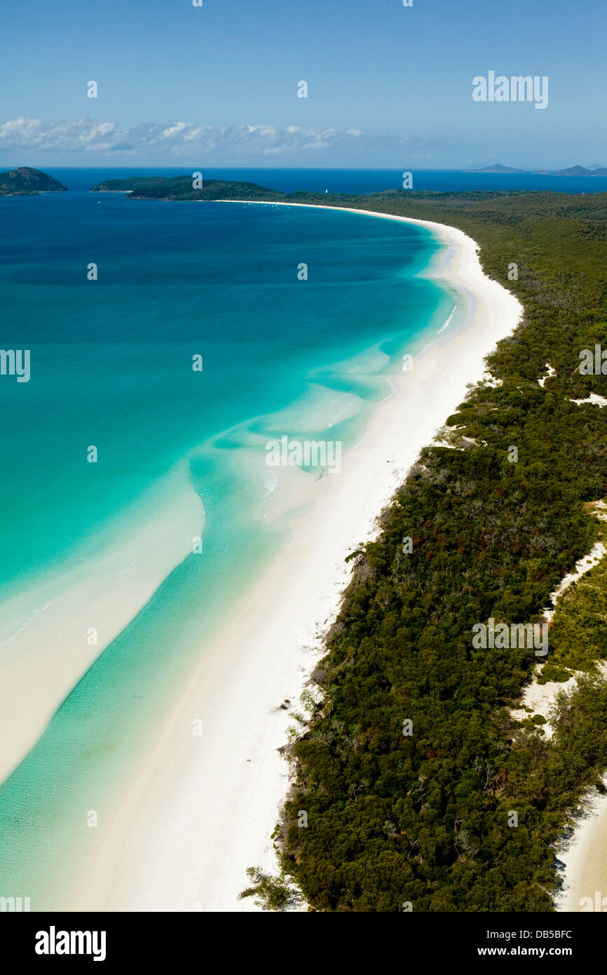 Aerial view along Whitehaven Beach, Whitsunday Island, Whitsundays, Queensland, Australia - Stock Image