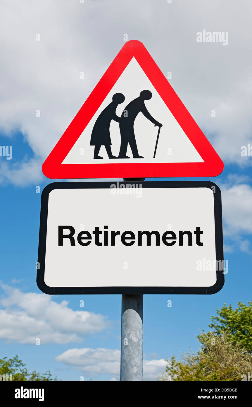 Couple and Retirement Road Warning Sign - Stock Image