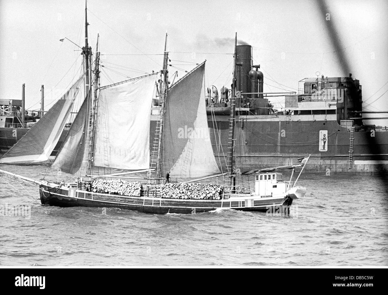 transport / transportation, navigation, sailing ships, sailing ship at the harbour of Stettin, Germany, 1940 / 1941, - Stock Image