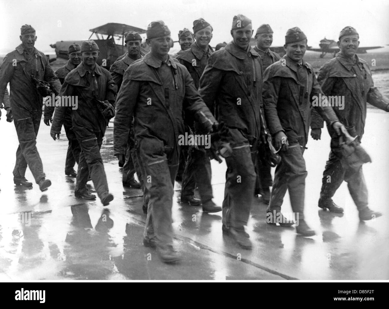 Nazism / National Socialism, military, Wehrmacht, Luftwaffe, airmen of a training unit, circa 1940, Additional-Rights - Stock Image