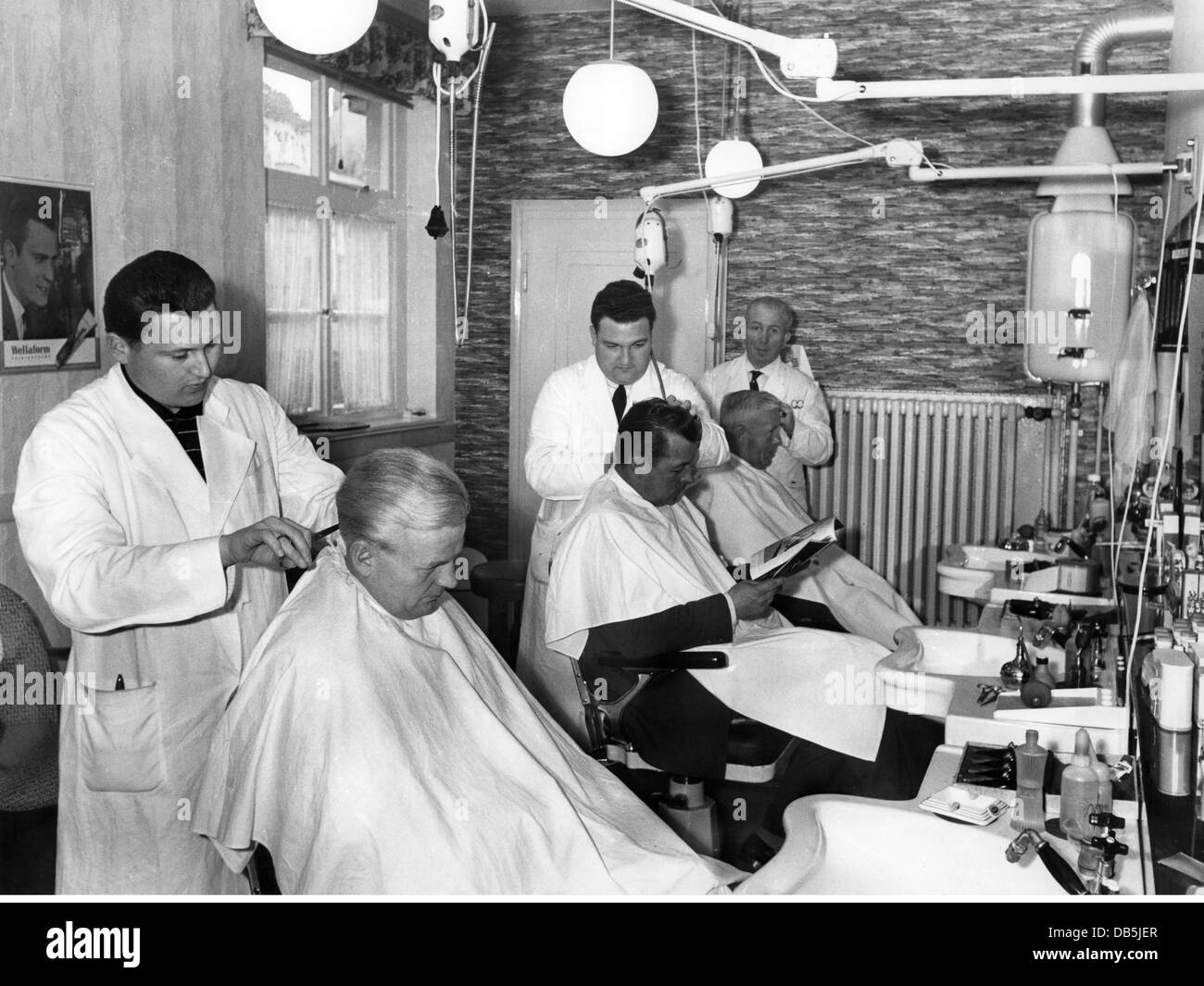 People, Professions, Barber, Barber Shop, West Germany