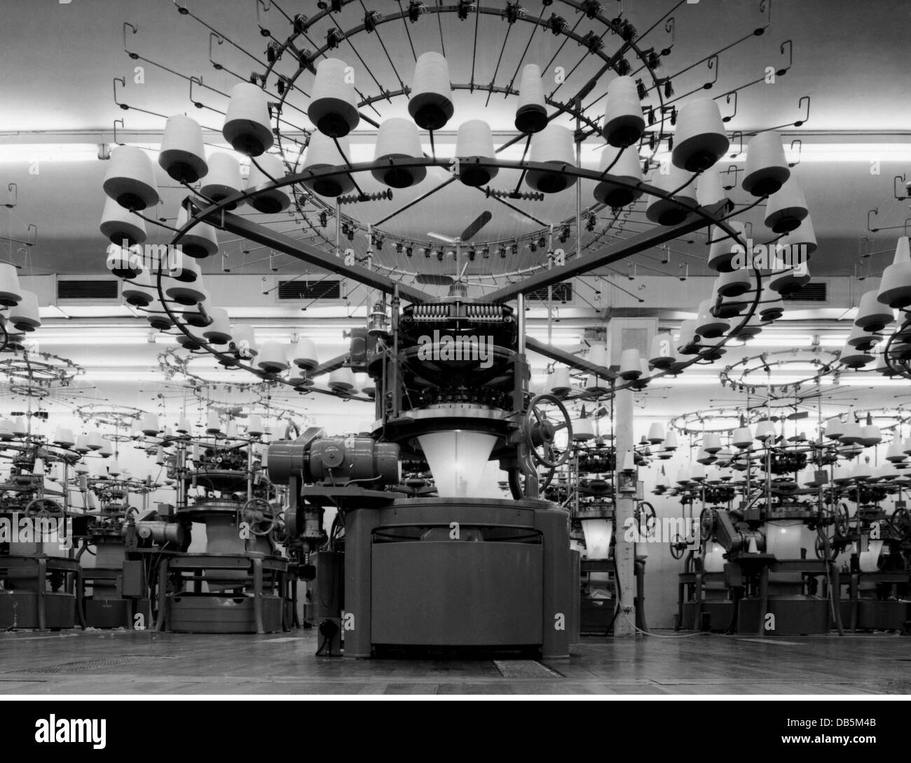 industry, textile, Schiesser, factory, interior view, Radolfzell, Germany, 1961, 1960s, 60s, 20th century, historic, - Stock Image