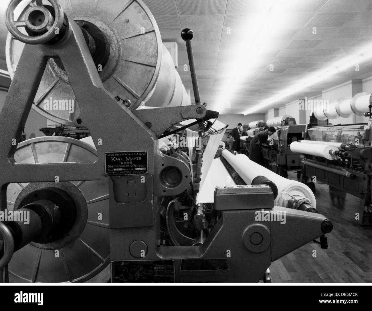industry, textile, Schiesser, factory, Radolfzell, Germany, 1961, 1960s, 60s, 20th century, historic, historical, - Stock Image