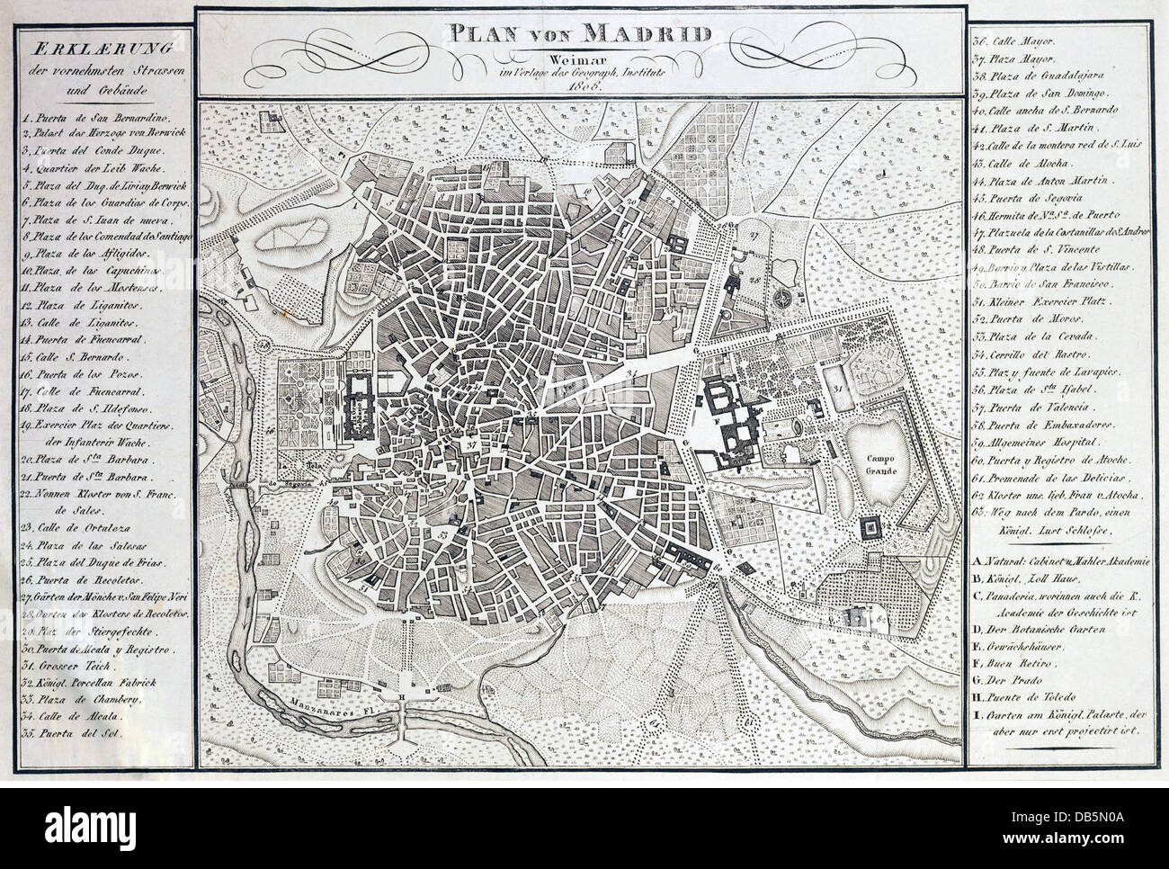 cartography, city maps, Spain, Madrid, Geographical Institute, Weimar, 1806, Additional-Rights-Clearences-NA - Stock Image