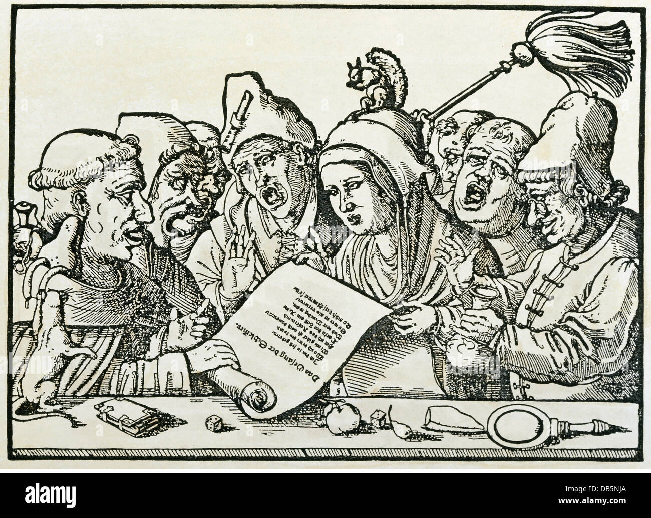 religion, christianity, religious orders, caricature on vices of monks and nuns, woodcut, Germany, 2nd half 16th Stock Photo