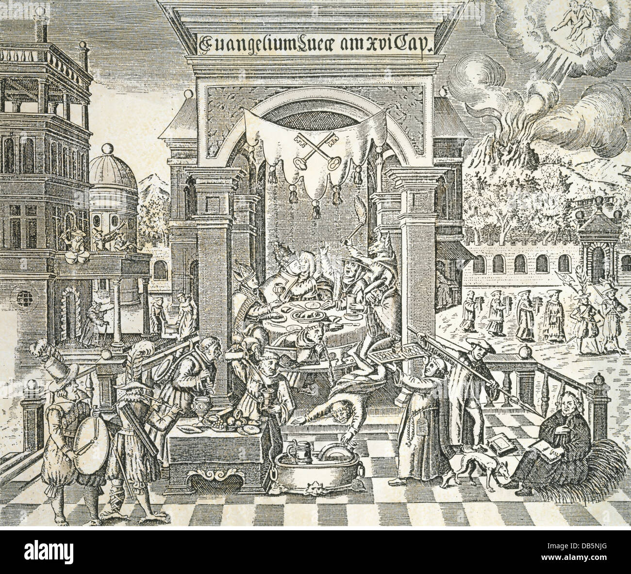 religion, christianity, papacy, caricature on the debauchery at the papal court, woodcut, mid 16th century, private - Stock Image