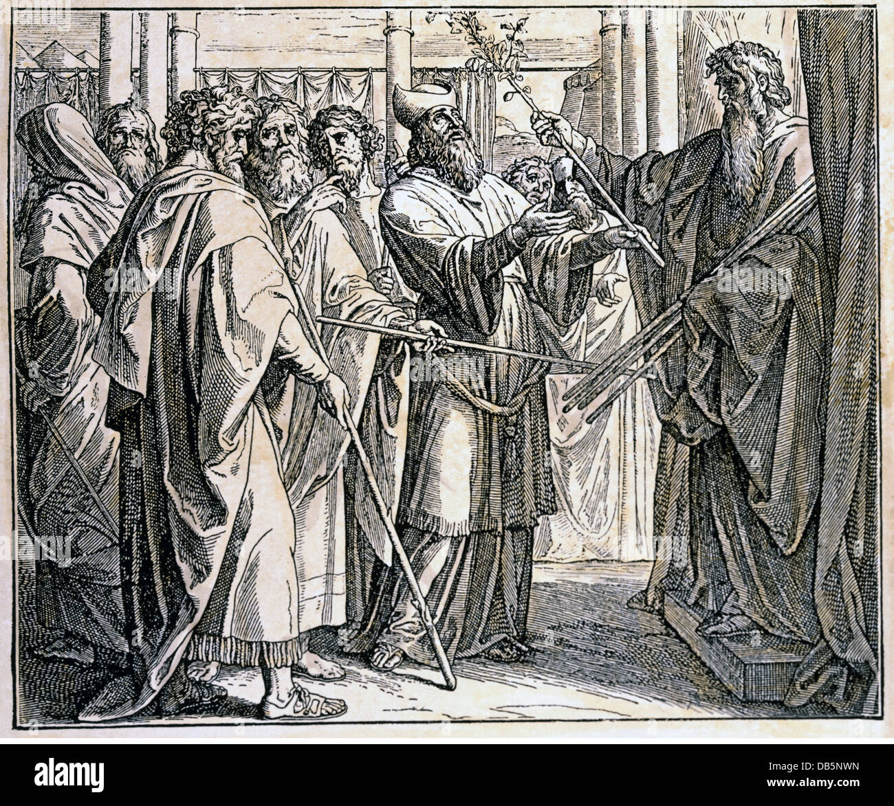 religion, biblical scenes, Moses bringing Aaron's baton from the tabernacle, wood engraving after Julius Schnorr - Stock Image
