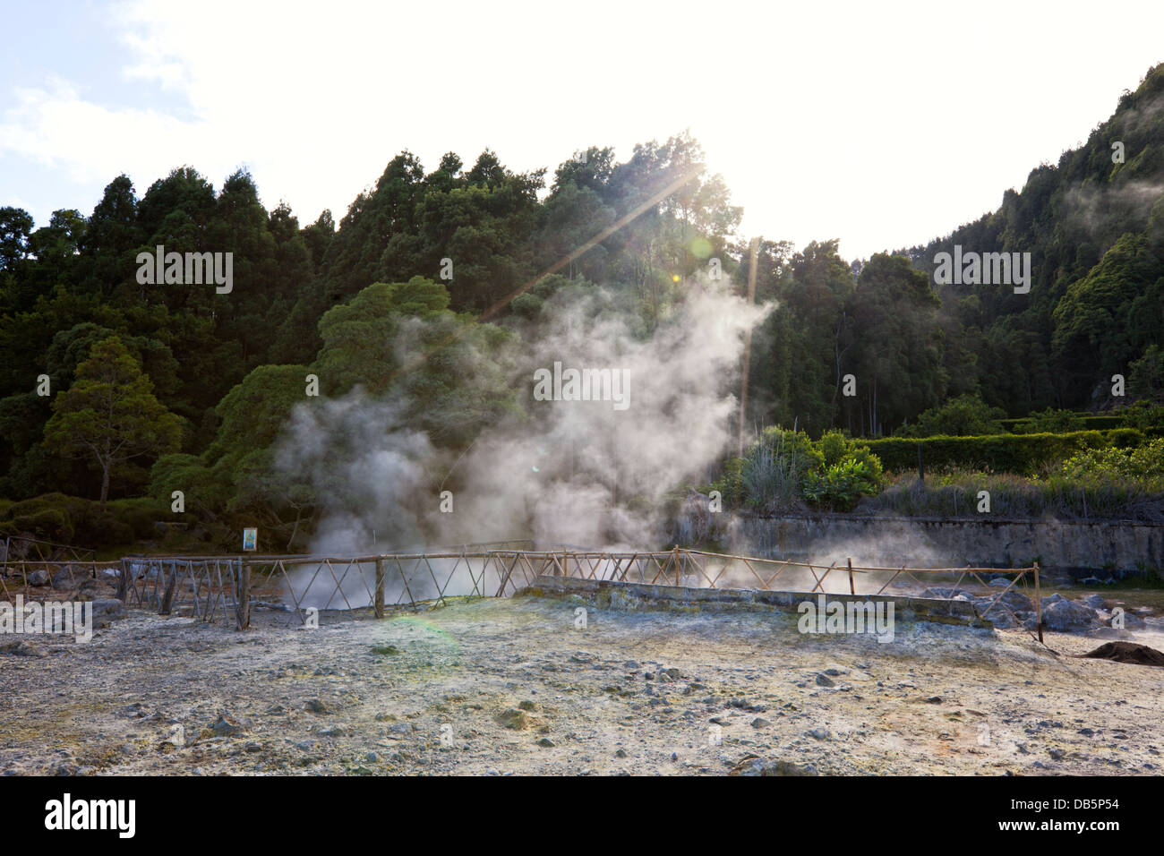 Geysers and fumaroles at the shore of Lake Furnas, São Miguel - Stock Image