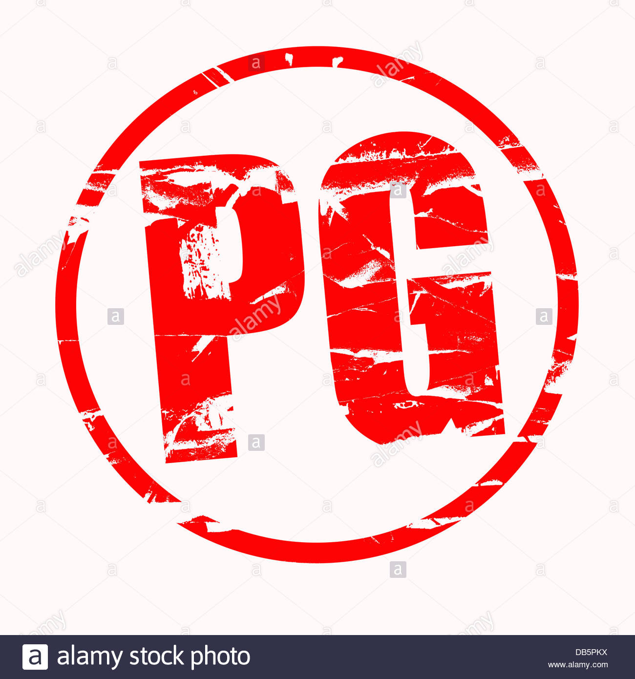 Digital composite Rubber stamp effect. PG parental Guidance - Stock Image