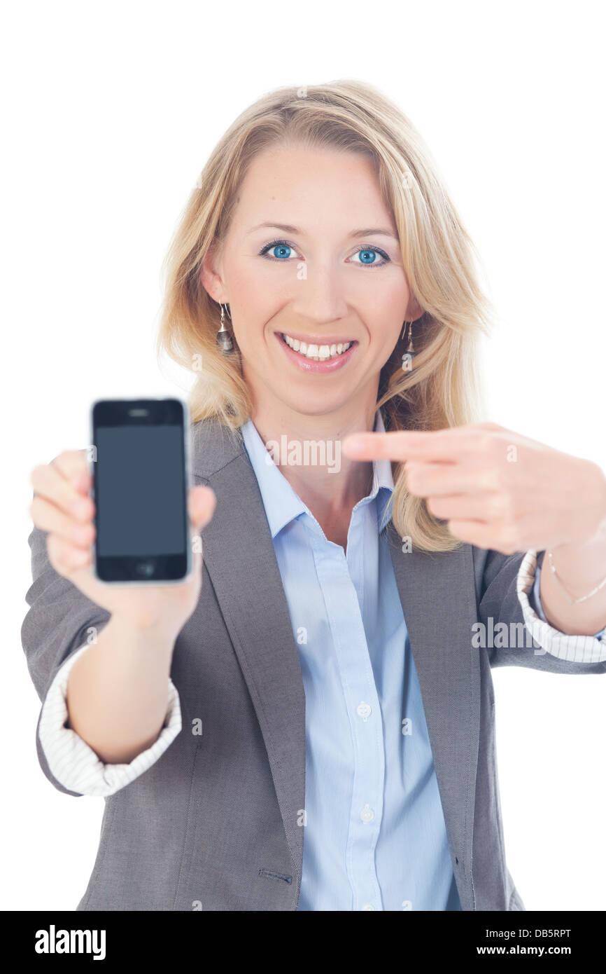 Busienss Frau mit Handy Stock Photo