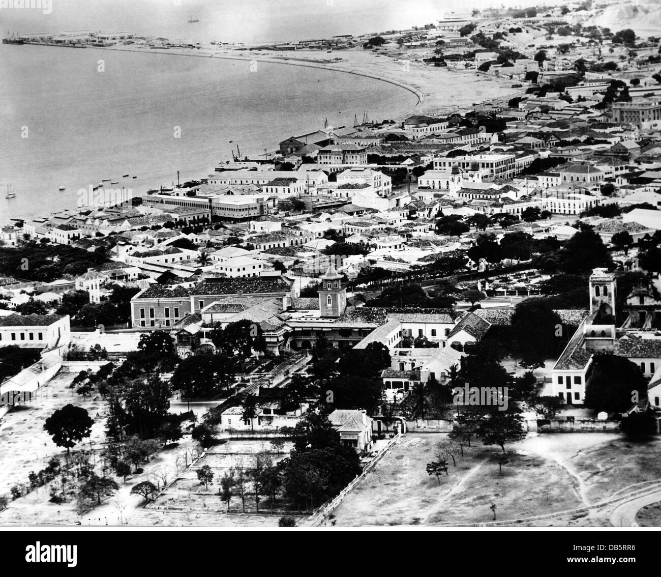 geography / travel, Angola, Luanda, city views / cityscapes, air view of the city and the coast, 1950s, Additional - Stock Image