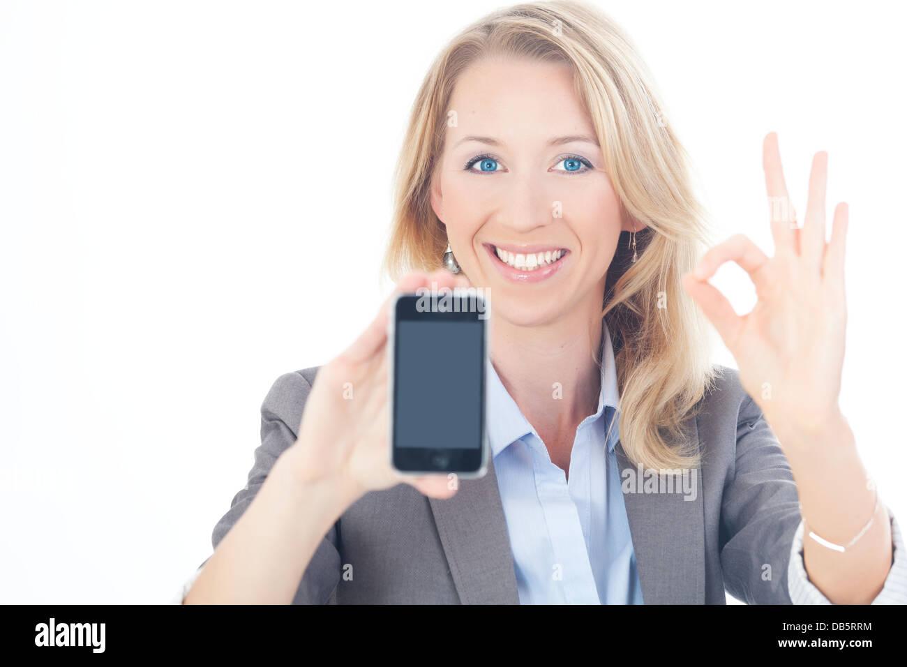 Busienss Frau mit Handy - Stock Image