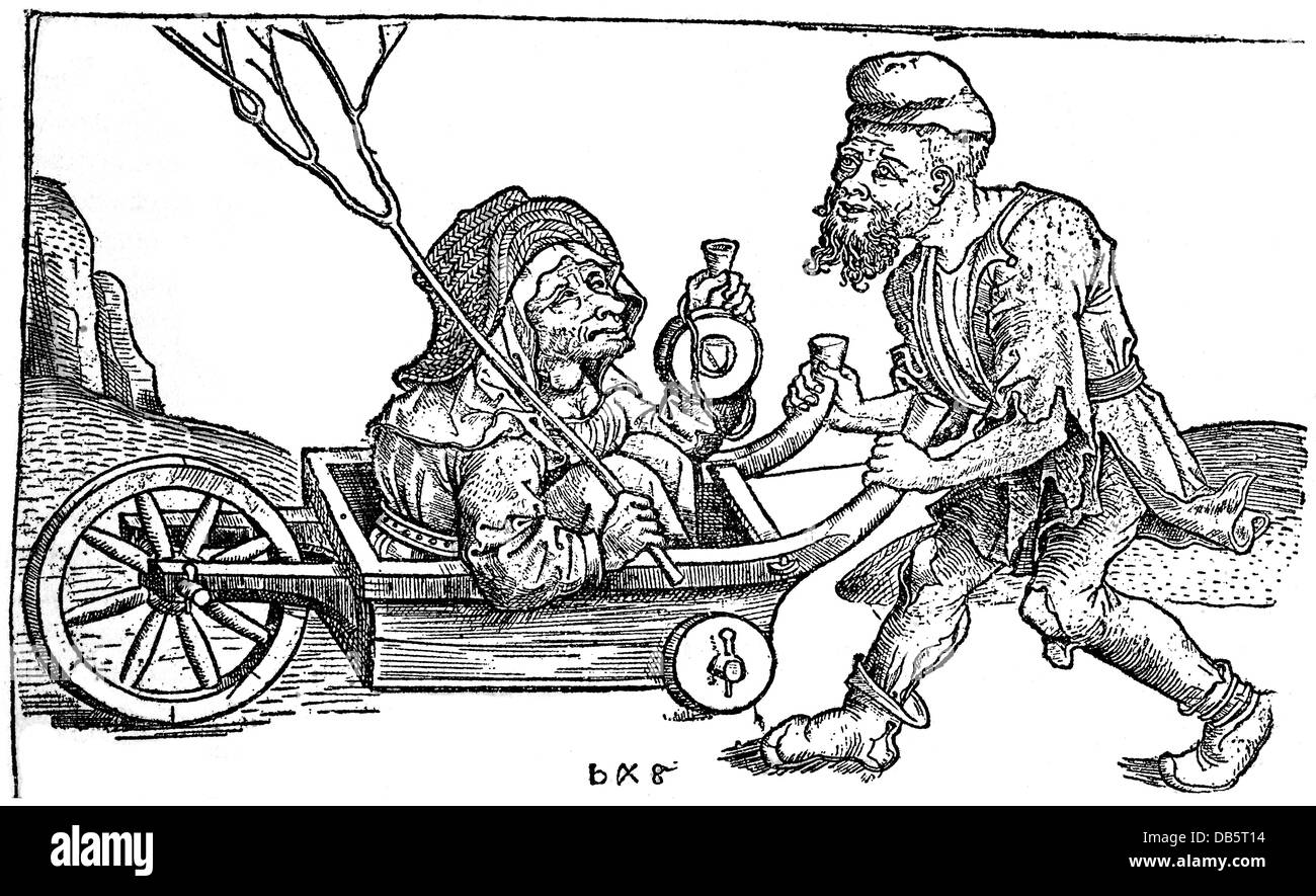 people, hardship / adversity, beggar pushing his wife in a wheelbarrow, copper engraving late 15th century, private - Stock Image