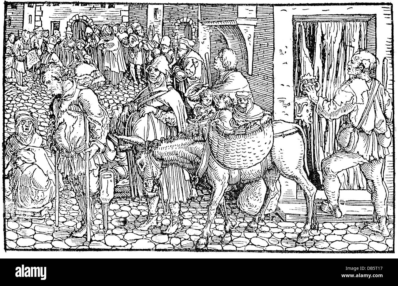 people, hardship / adversity, Middle Ages, beggars, beggar family, woodcut, by the Master of the Trostspiegel (Mirror - Stock Image
