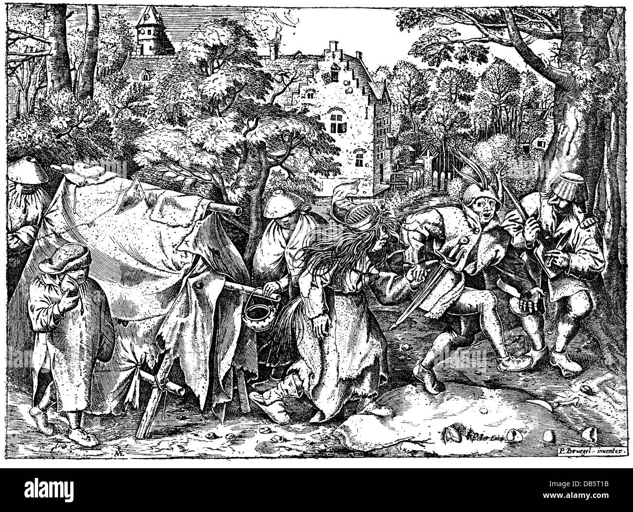 people, poverty / hardship / adversity, beggars dancing beside their tent, copper engraving by Peter Miricenys (Pieter - Stock Image