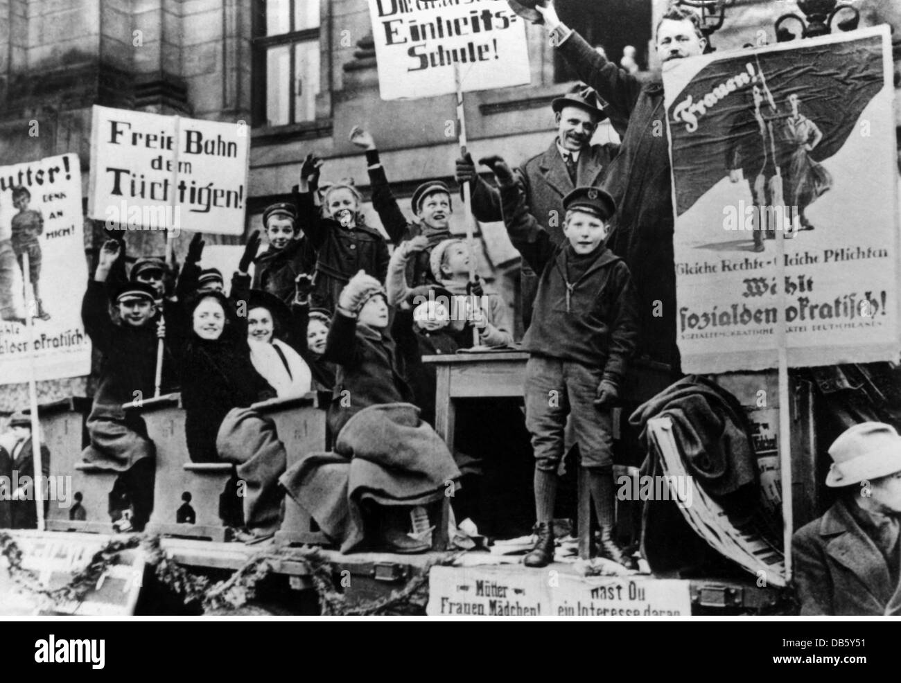 events, German Revolution 1918 - 1919, election for National Assembly, 19.1.1919, propaganda squad of the Social - Stock Image