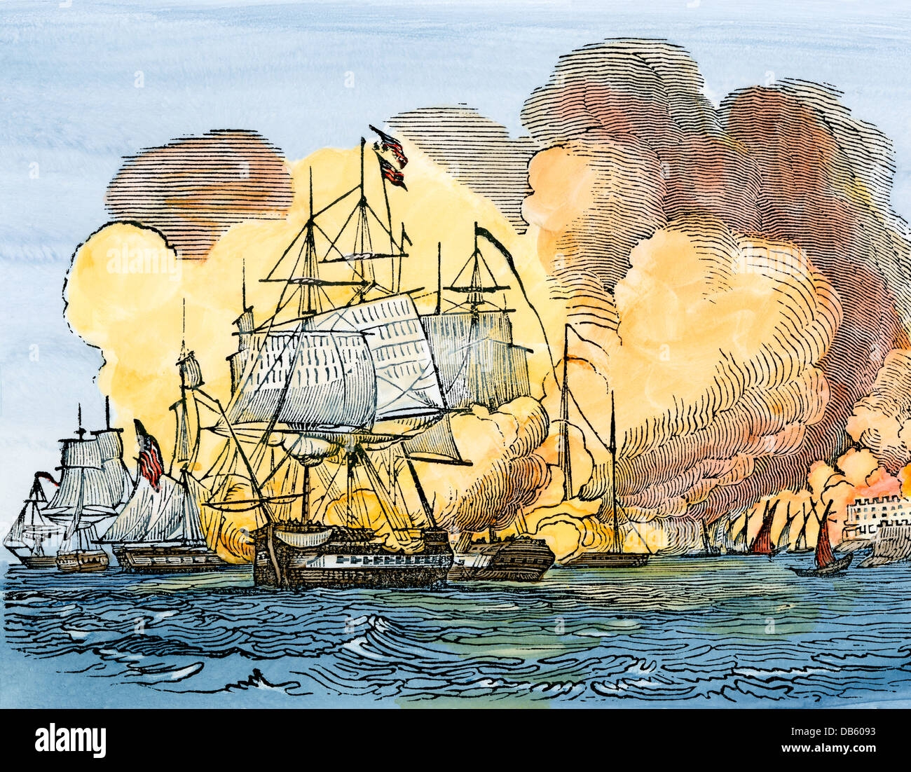 Bombardment of Tripoli by US Navy ships during the Barbary Wars, 1803. Hand-colored woodcut - Stock Image