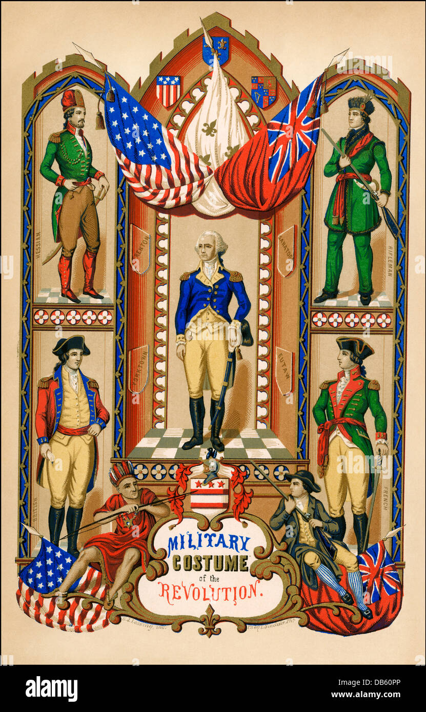 Military uniforms of armies in the American Revolution: Hessian, American rifleman, French, and British (clockwise - Stock Image