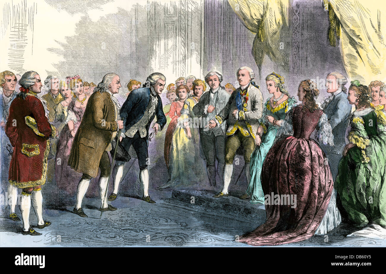 Benjamin Franklin presented to Louis XVI and Marie Antoinette at the French court. Hand-colored woodcut - Stock Image