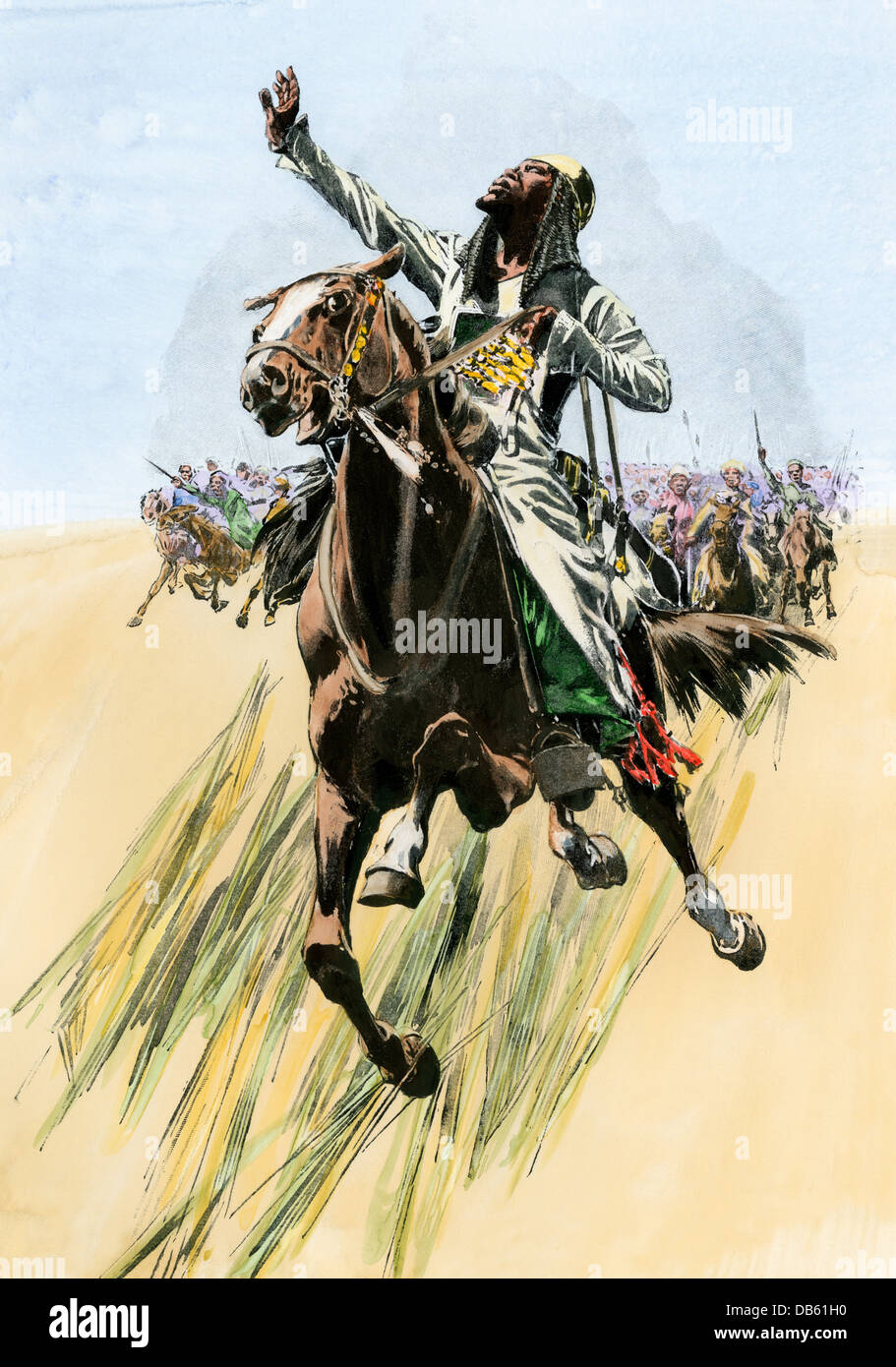 Sudanese cavalry charging British lines, Battle of Omdurman, 1898. Hand-colored halftone reproduction of an illustration - Stock Image