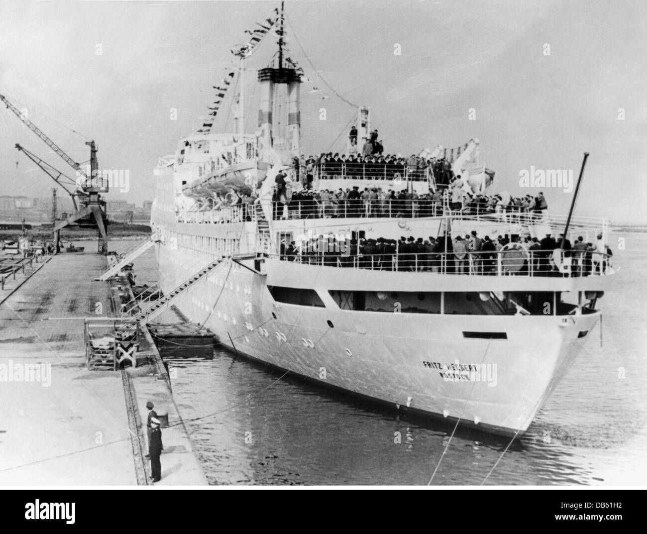 "transport / transportation, navigation, passenger ships, passenger ship ""Fritz Heckert"", (launched: 1960, scrapped: Stock Photo"