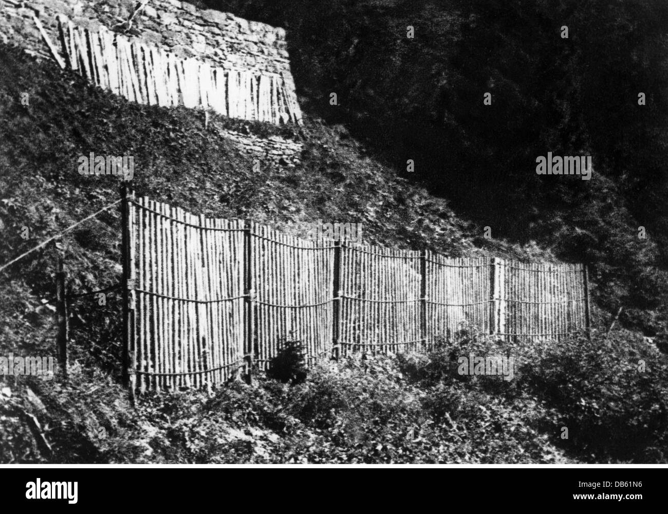 disasters, avalanches, prevention, rake made from railroad tracks, lathes and steel cables, Switzerland, 1930s, - Stock Image