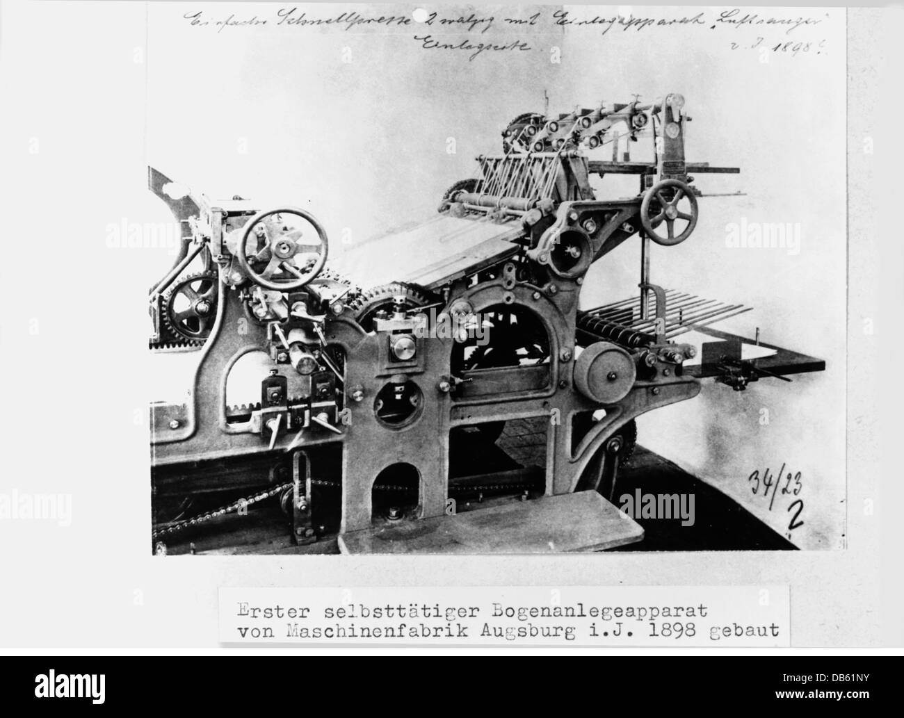 technics, typography, printing press, Maschinenfabrik Augsburg, Germany, 1898, Additional-Rights-Clearences-NA - Stock Image