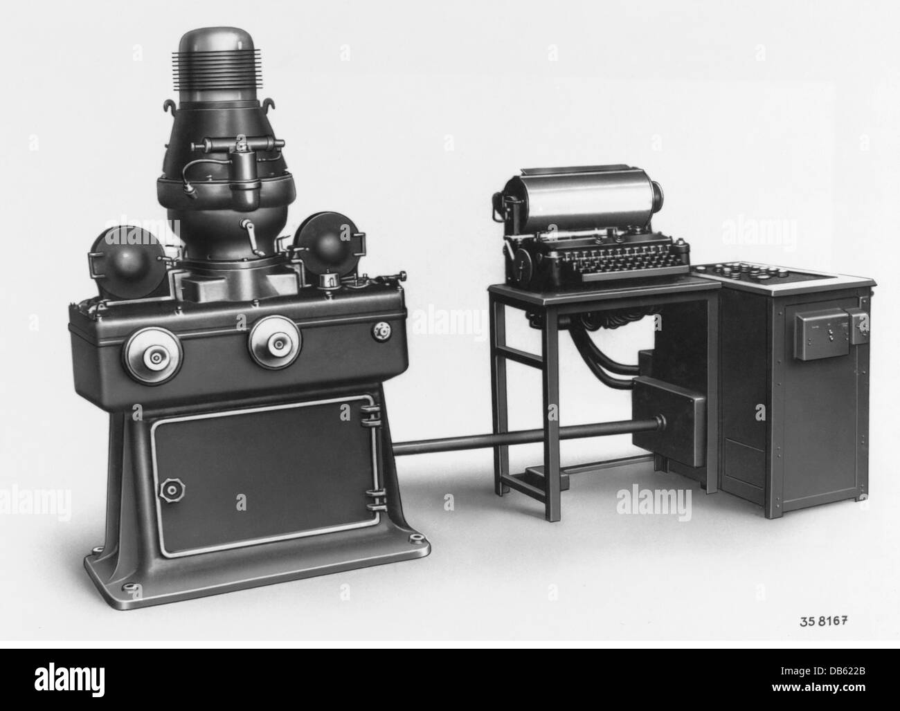 technics, typography, filmsetting machine, invented by Edmund Uher, 1930, Additional-Rights-Clearences-NA - Stock Image