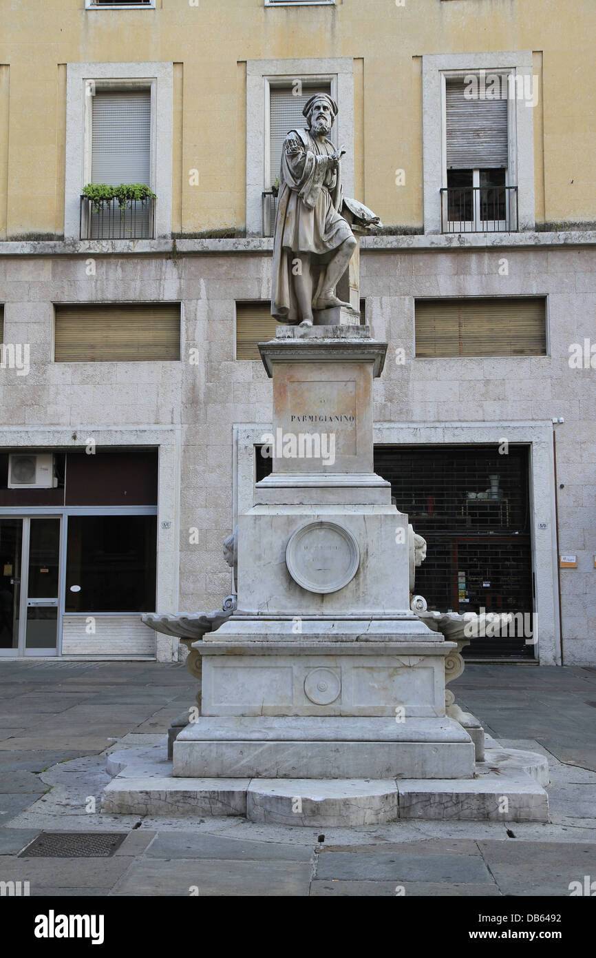 The statue of Parmigianino at Piazzale della Steccata in Parma.  Parmigianino was an an Italian Mannerist painter - Stock Image