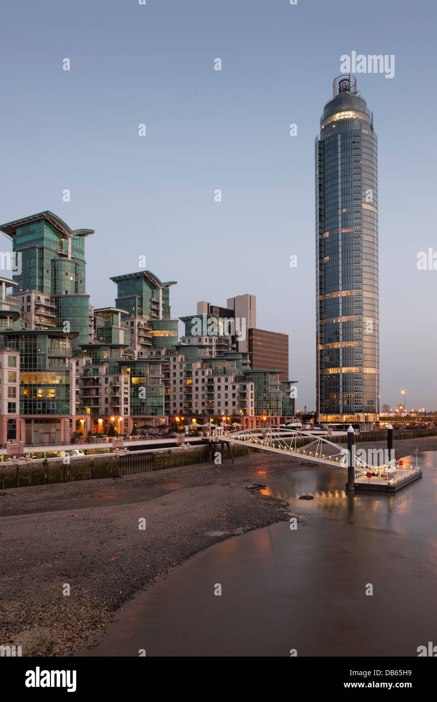 Saint George Wharf with the tallest residential skyscraper in London-Vauxhall Tower,Vauxhall,London,England - Stock Image