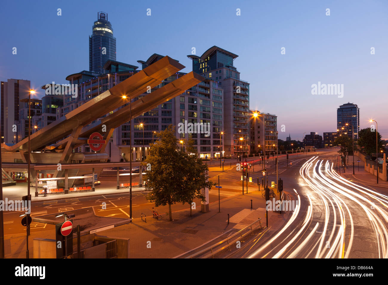 Vauxhall junction at night,London,England - Stock Image