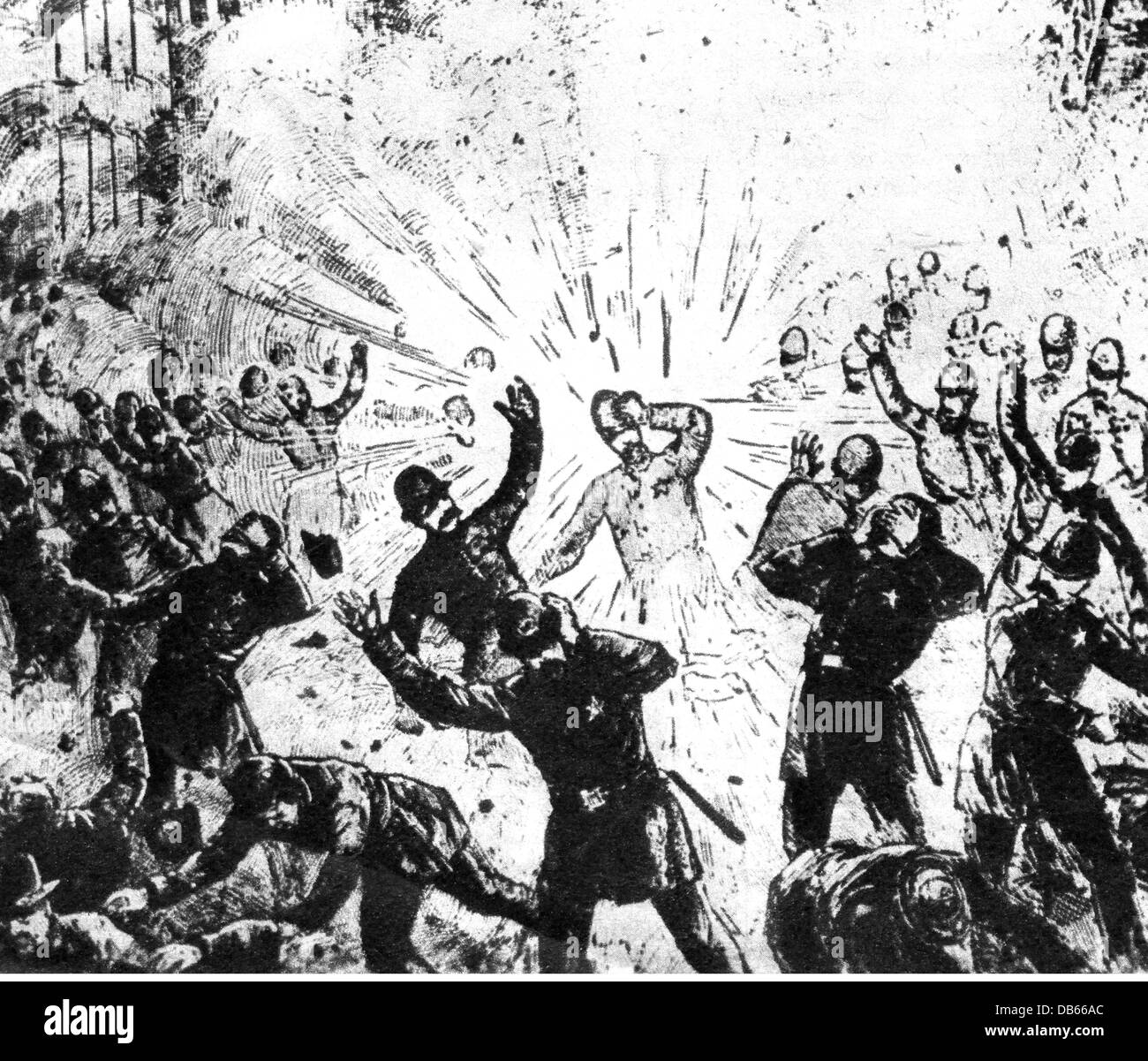 events, Haymarket Riot, May 1886, a bomb explodes in the police line on Haymarket Square, 4.5.1886, strike, strikes, - Stock Image