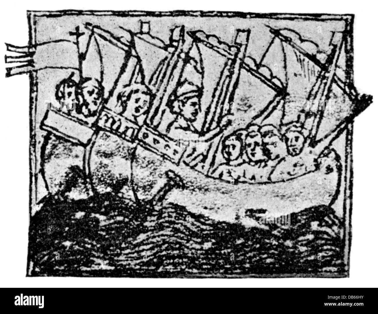 Middle Ages, crusades, crusader ships, illustration from 'De passagiis in Terram sanctam', 1879, Additional - Stock Image