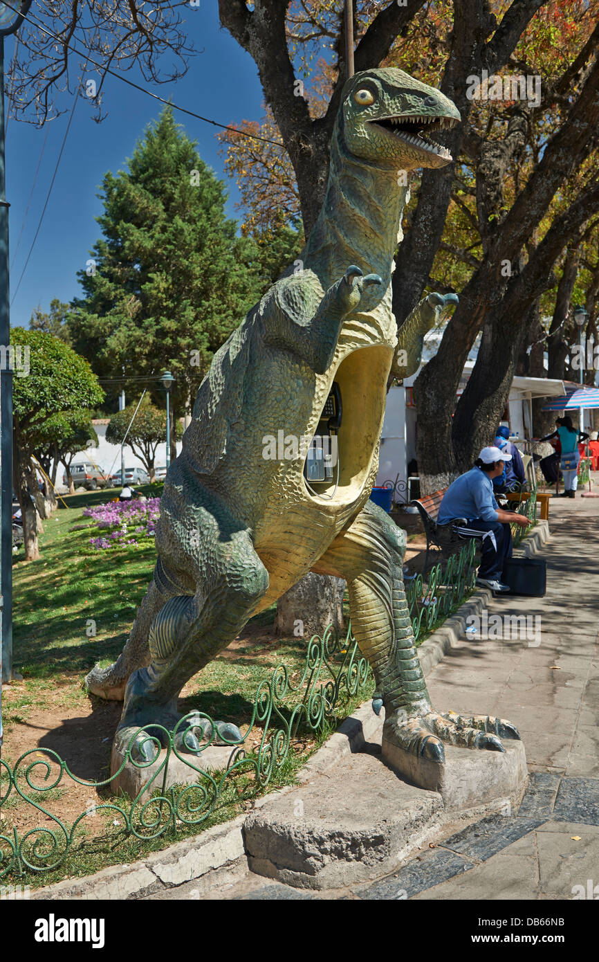 phone booth formed like a dinosaur, Sucre, Bolivia, South America - Stock Image