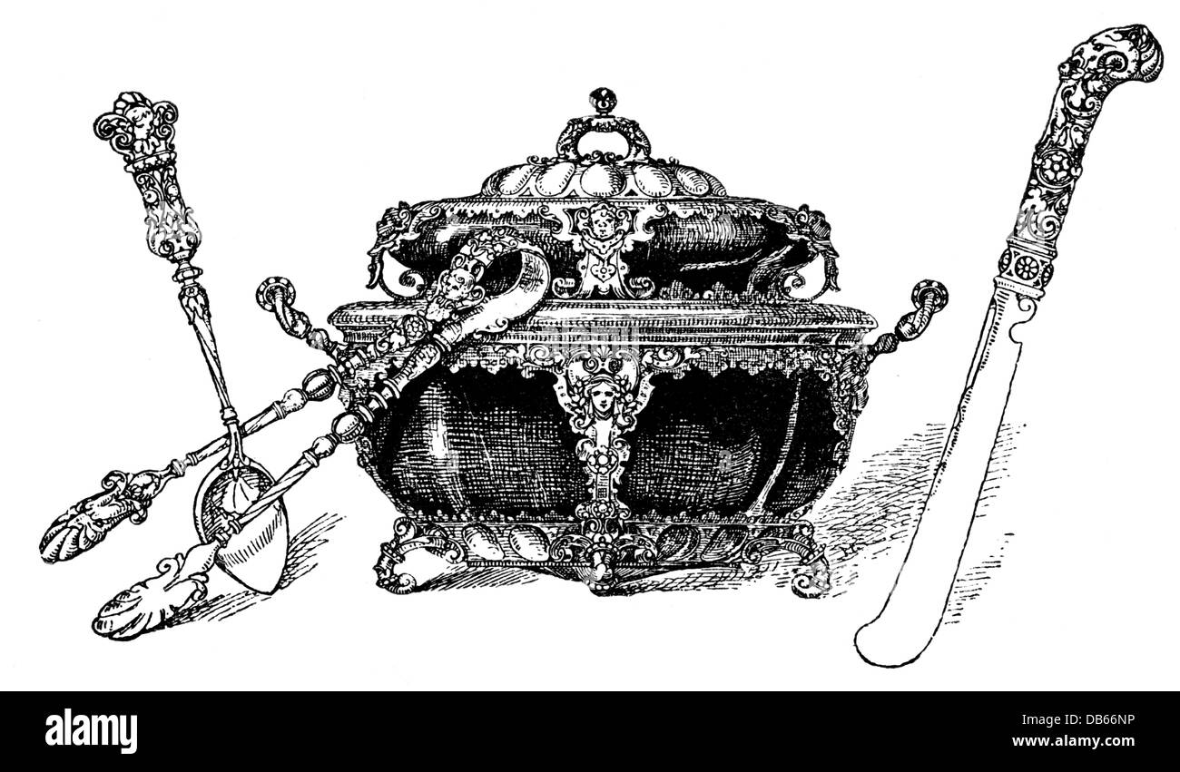 household, dishes, sugar bowl with tongs, spoon and dessert knife by H. Kellner, wood engraving, 19th century, tableware, - Stock Image