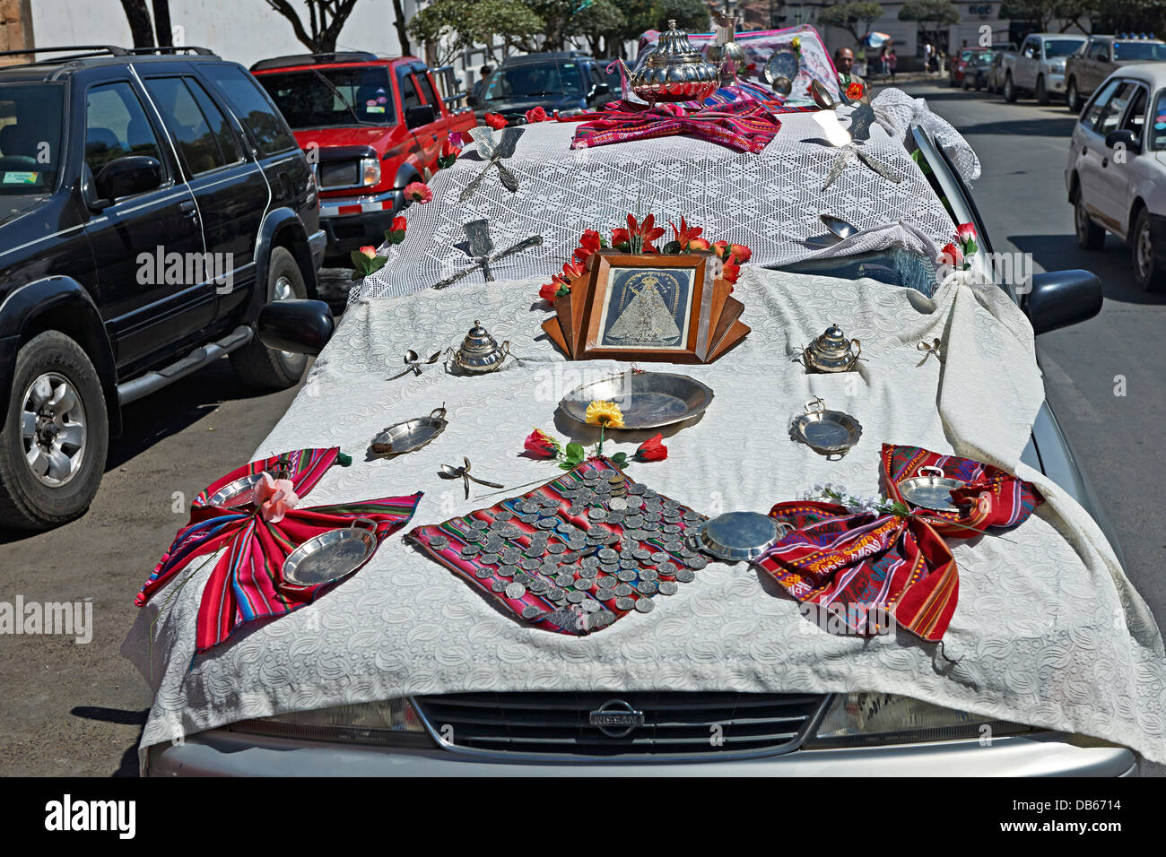 for religious ceremony decorated car in Sucre, Bolivia, South America - Stock Image
