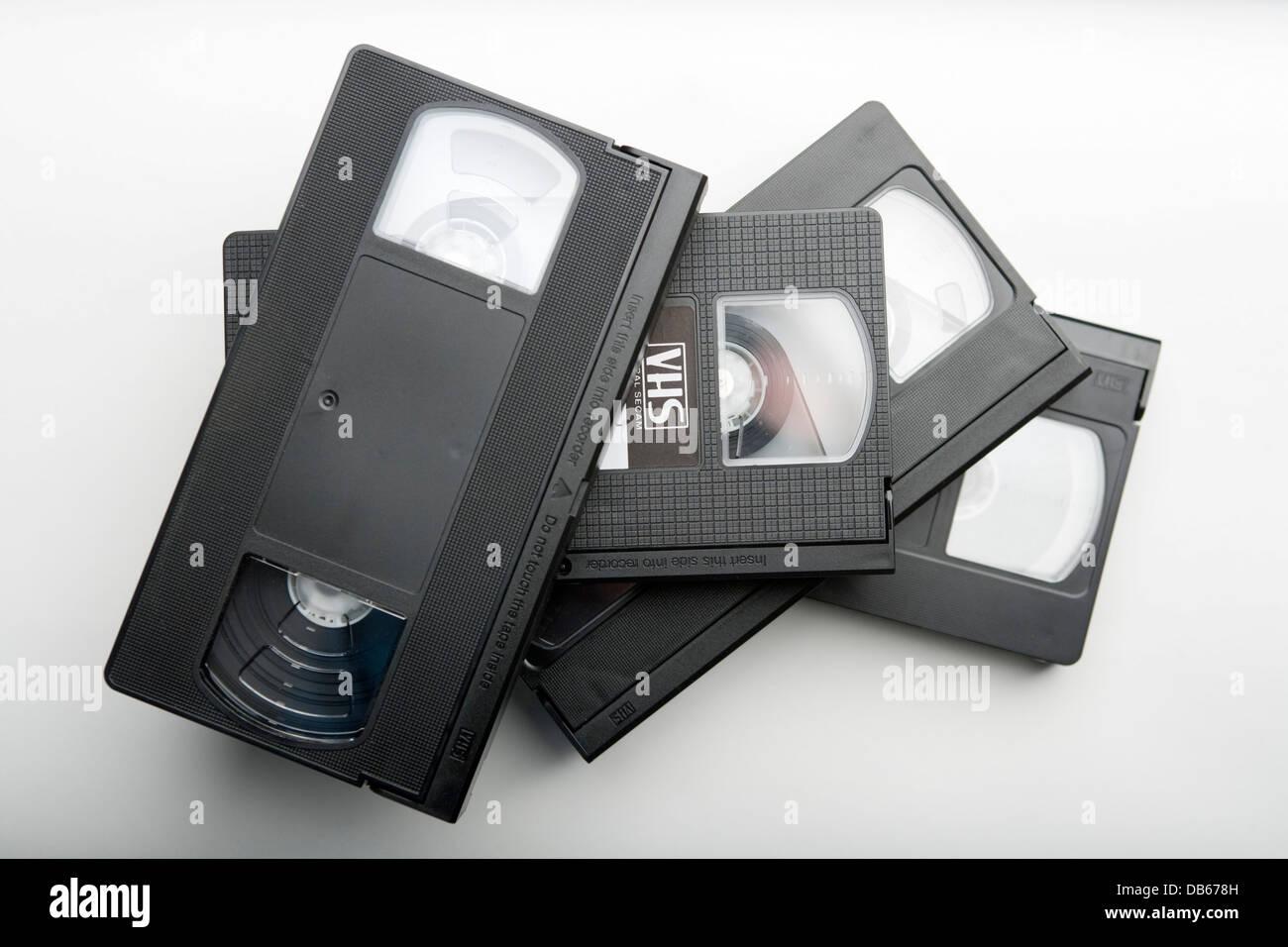 Black VHS cassette tapes. - Stock Image