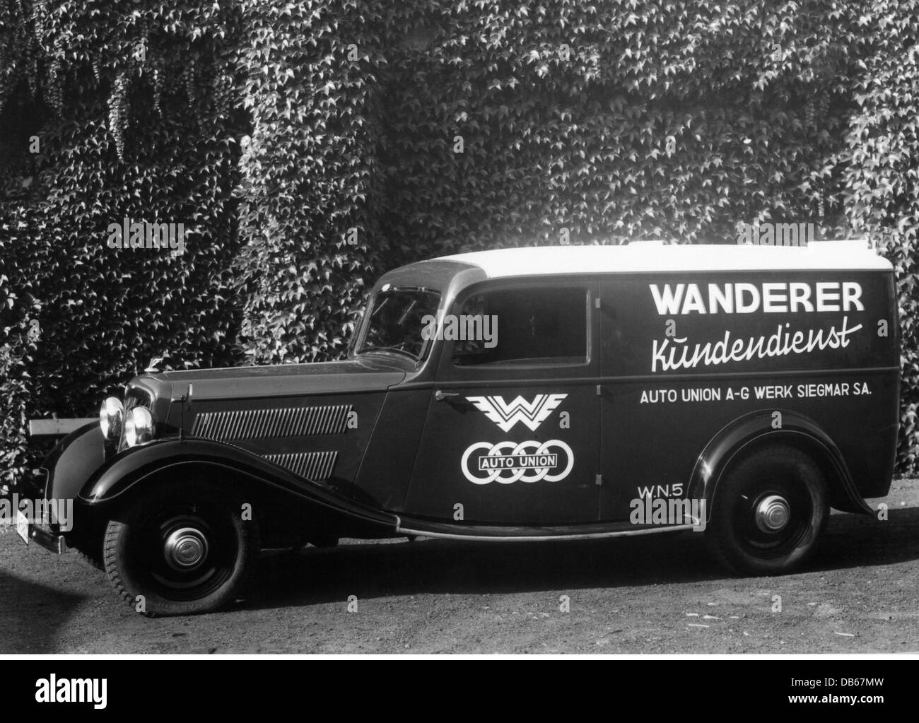 transport / transportation, cars, Wanderer W 22 transport trolley, 1932, W22, box wagon, car, Germany, 1930s, 30s, - Stock Image