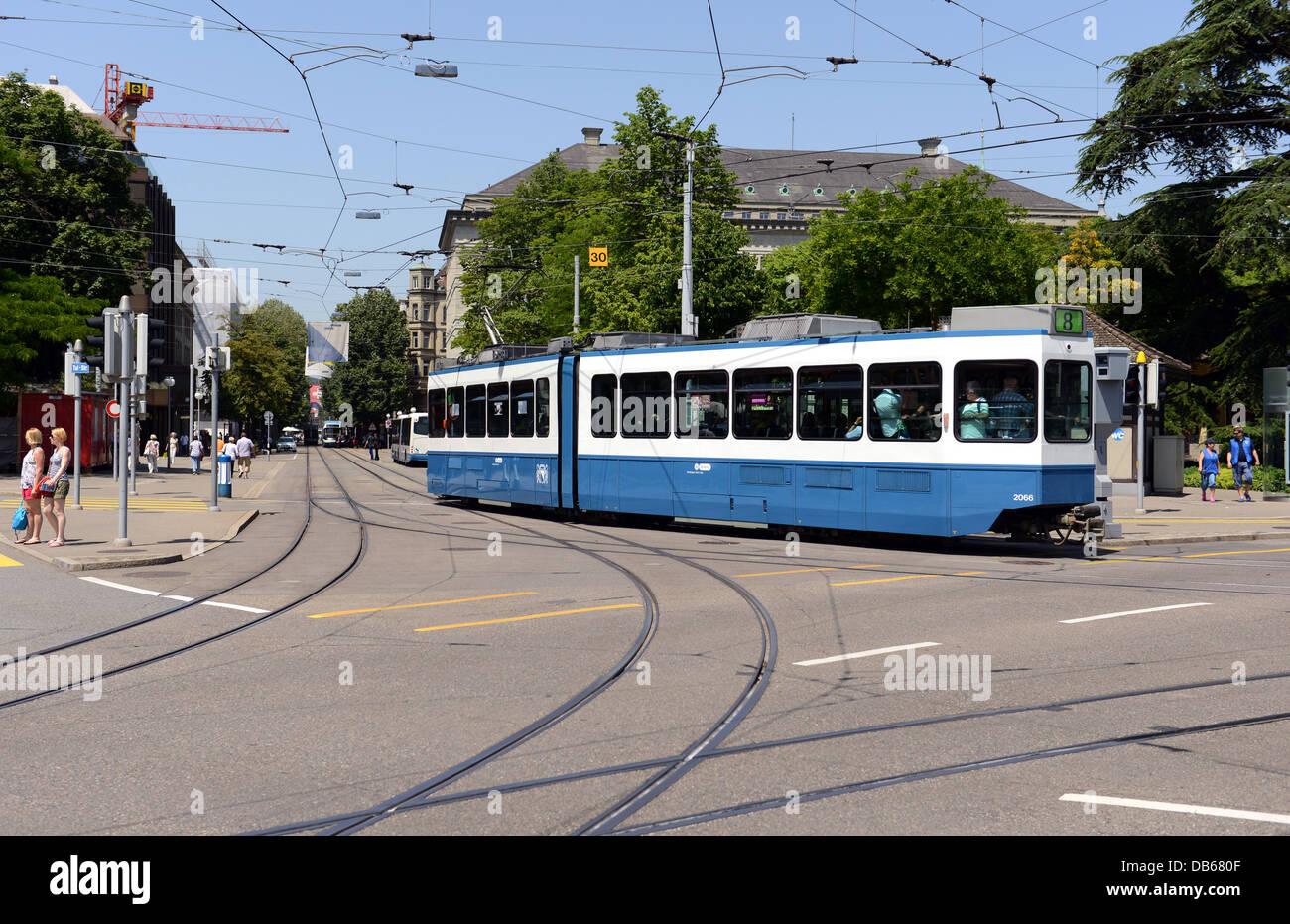 Tram at Zurich near Buerkliplatz - Stock Image