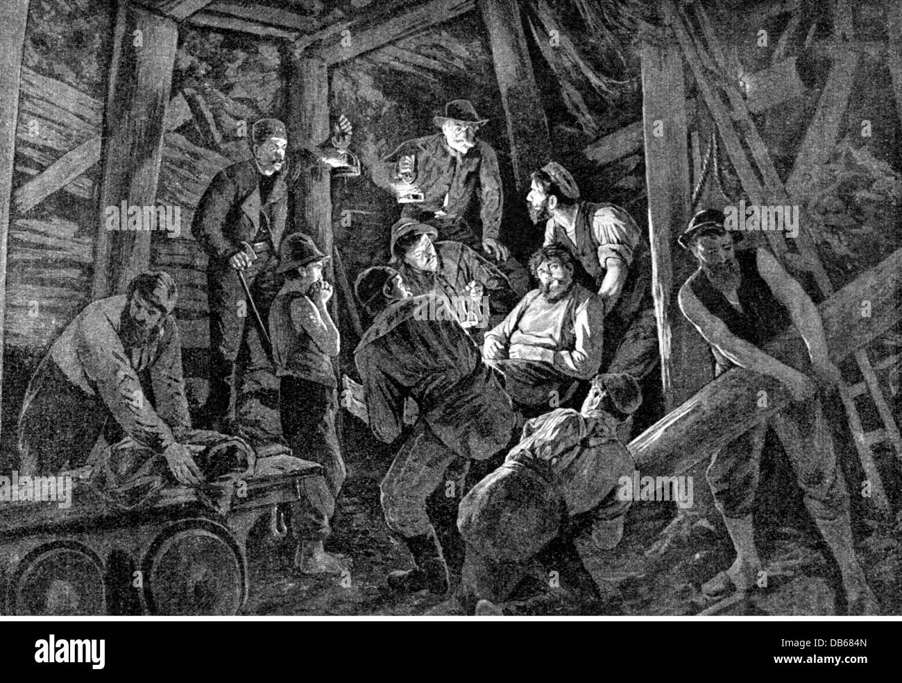 mining, disasters, mine disaster, break in of the ridges, wood engraving after painting by August von Heyden, Germany, - Stock Image