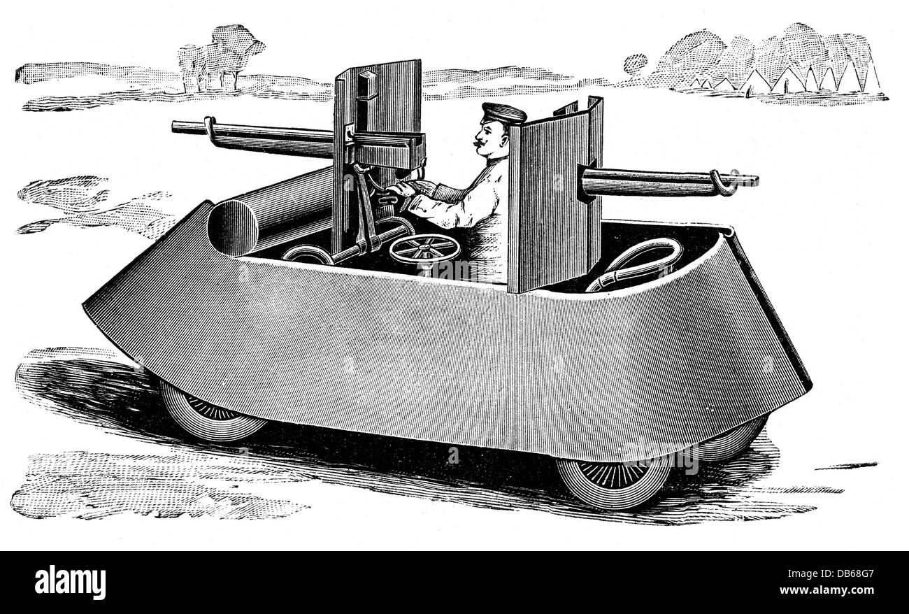 military, machinery of war, armoured pedal car with mounted guns, wood engraving, circa 1900, Additional-Rights - Stock Image