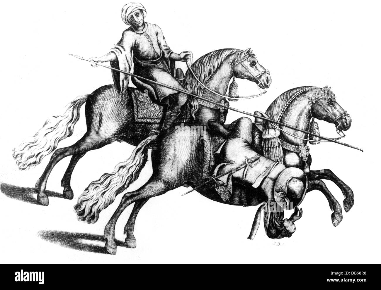 military, cavalry, skill on horseback, rider avoiding a lance thrust, copper engraving, from 'Arte da Cavalleria', - Stock Image