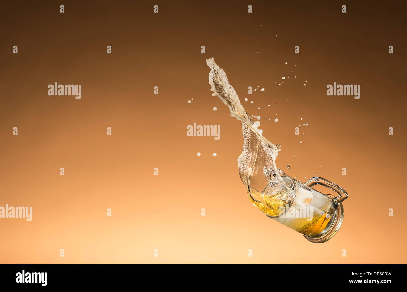 Beer Falling & Spilling - Stock Image
