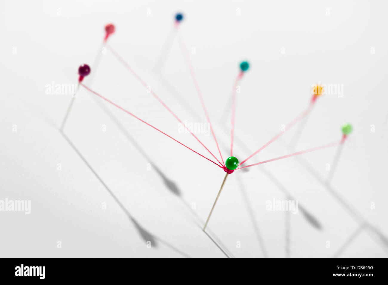 Social Networking Represented By Pins & String - Stock Image